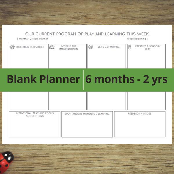 Blank Planner 6 months - 2 years