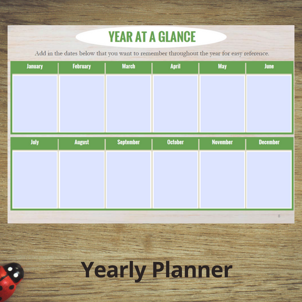 Yearly Planner Year at a Glance