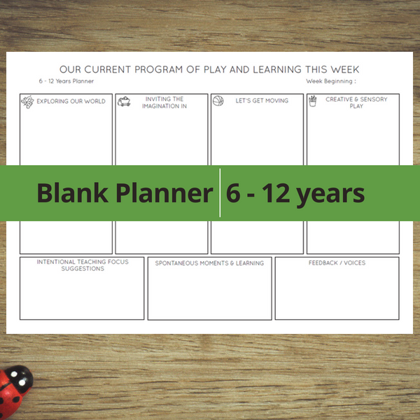 blank planner 6 - 12 years