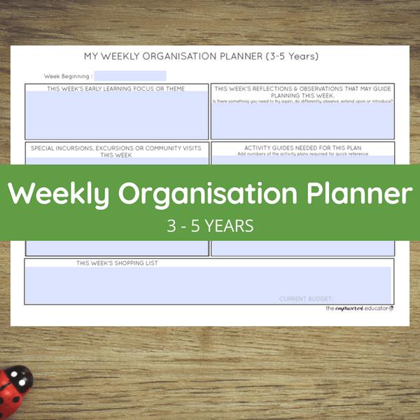 weekly organisation planner 3 - 5 years