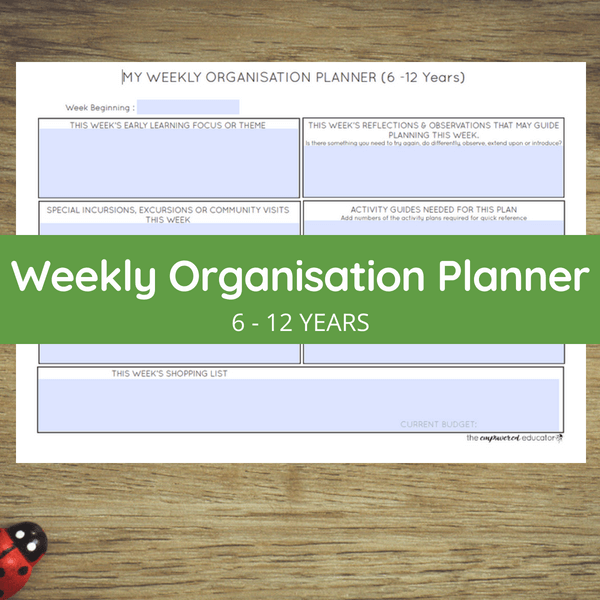 weekly organisation planner 6 - 12 years